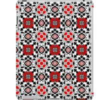 Floral Moroccan Tile, Red, Black and White iPad Case/Skin