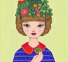 Cacti - girl with a Cacti garden by Emma Hampton