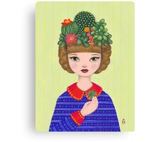Cacti - girl with a Cacti garden Canvas Print