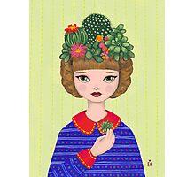 Cacti - girl with a Cacti garden Photographic Print