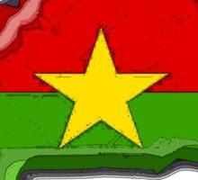 Burkina Faso Map With Flag of Burkina Faso Sticker