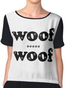 Woof Woof Leather and Studs Chiffon Top