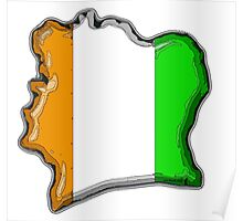 Cote d'Ivoire Ivory Coast Map With Flag Poster