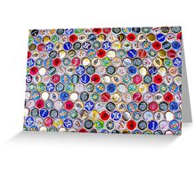Bottle Caps seamless patterned background Greeting Card