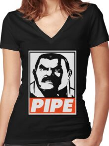 Haggar Pipe Obey Design Women's Fitted V-Neck T-Shirt