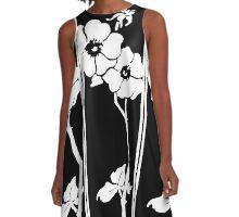 Classic monochrome floral design A-Line Dress