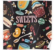 Hand drawn pattern. Sweets. Poster