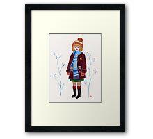 Winter Kitten Pockets Framed Print