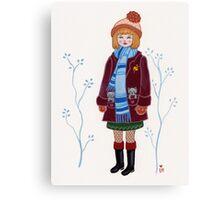Winter Kitten Pockets Canvas Print