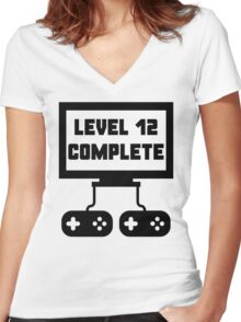 Level 12 Complete 12th Birthday Women's Fitted V-Neck T-Shirt