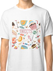 Hand drawn pattern. Sweets. Classic T-Shirt