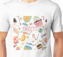Hand drawn pattern. Sweets. Unisex T-Shirt