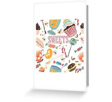 Hand drawn pattern. Sweets. Greeting Card