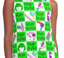 GREEN CHECKERED HAIR STYLIST DESIGN Contrast Tank