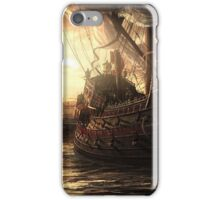 Old world ships meet in the harbor. iPhone Case/Skin