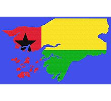 Guinea-Bissau Map With Flag Photographic Print