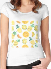 Fruits pattern with pine apple, palm leaves.  Women's Fitted Scoop T-Shirt
