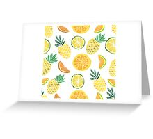 Fruits pattern with pine apple, palm leaves.  Greeting Card