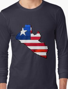 Liberia Map With Liberian Flag Long Sleeve T-Shirt