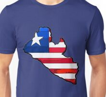 Liberia Map With Liberian Flag Unisex T-Shirt