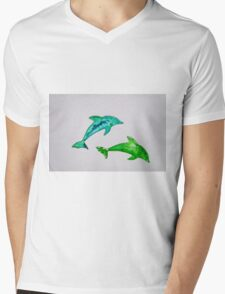 Dolphins in green Mens V-Neck T-Shirt