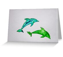 Dolphins in green Greeting Card