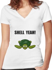 Shell Yeah Turtle Women's Fitted V-Neck T-Shirt
