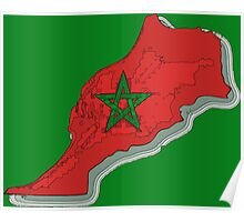 Morocco Map With Moroccan Flag Poster
