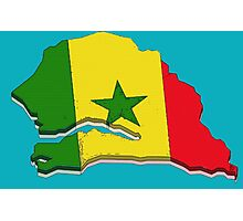 Senegal Map With Senegalese Flag Photographic Print