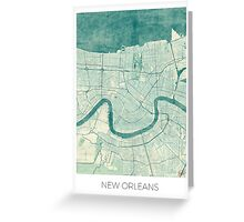 New Orleans Map Blue Vintage Greeting Card