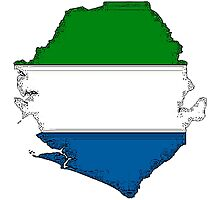 Sierra Leone Map With Flag Photographic Print