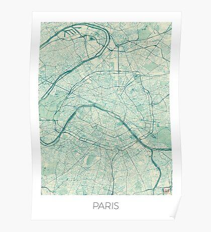 Paris Map Blue Vintage Poster