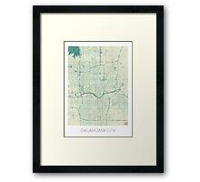Oklahoma City Map Blue Vintage Framed Print