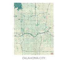 Oklahoma City Map Blue Vintage Photographic Print