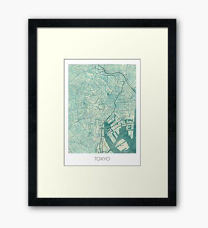 Tokyo Map Blue Vintage Framed Print