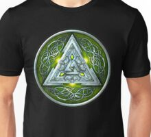 Norse Triskele Valknut Shield in Silver and Green Unisex T-Shirt