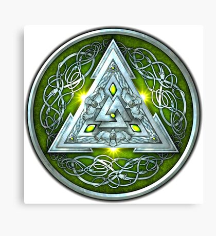Norse Triskele Valknut Shield in Silver and Green Canvas Print