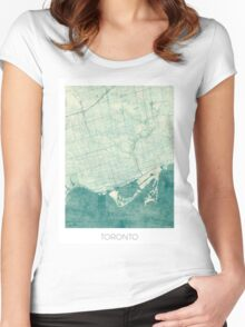 Toronto Map Blue Vintage Women's Fitted Scoop T-Shirt