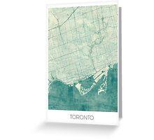 Toronto Map Blue Vintage Greeting Card