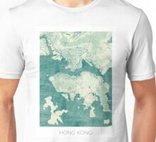 Hong Kong Map Blue Vintage Unisex T-Shirt
