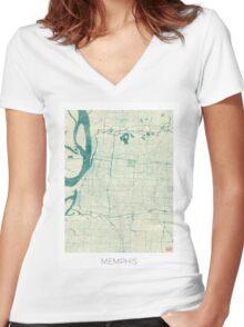 Memphis Map Blue Vintage Women's Fitted V-Neck T-Shirt