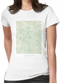 Charlotte Map Blue Vintage Womens Fitted T-Shirt
