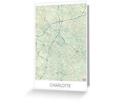 Charlotte Map Blue Vintage Greeting Card