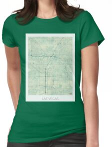 Las Vegas Map Blue Vintage Womens Fitted T-Shirt