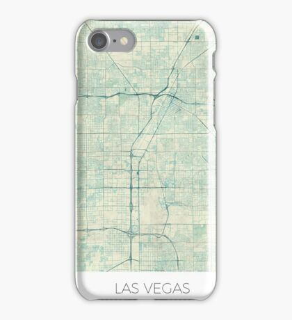 Las Vegas Map Blue Vintage iPhone Case/Skin