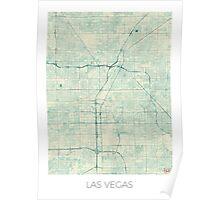 Las Vegas Map Blue Vintage Poster