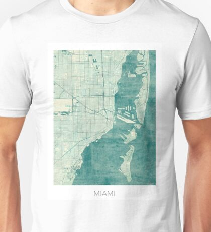 Miami Map Blue Vintage Unisex T-Shirt