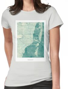 Miami Map Blue Vintage Womens Fitted T-Shirt
