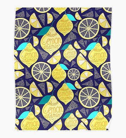 Bright pattern of lemons  Poster