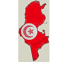 Tunisia Map With Tunisian Flag Photographic Print